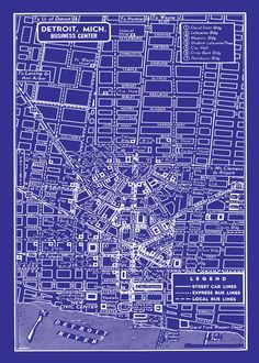 1949 Vintage Map of Detroit Michigan 20x30 Blueprint Map Print Poster