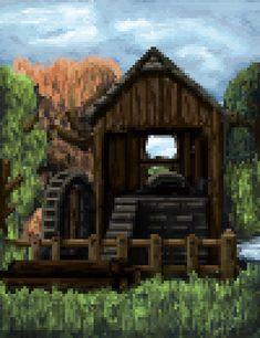 Pixel Art, Cabin, House Styles, Home Decor, Decoration Home, Room Decor, Cabins, Cottage, Home Interior Design