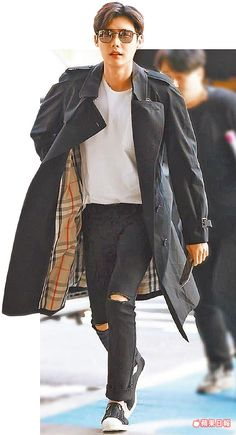Lee Jong Suk with burberry coat