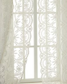 """Each 52""""W x 108""""L Chantilly Lace Curtain at Neiman Marcus."""