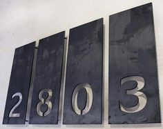pin mounted address numbers | Aligned Single Number Address Plaques