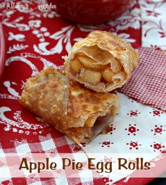 Apple Pie Egg Rolls by Mommy's Kitchen. Crispy dessert egg rolls filled with warm homemade apple pie filling and served with a caramel dipping sauce. #applepie #applepieeggrolls #dessertrolls #eggrolls #mommyskitchen #marzetti #caramelsauce #dessert