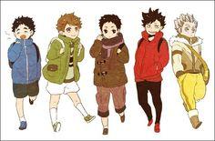 Haikyuu!! - Keiji, Oikawa, Daichi, Kuroo and Bokuto