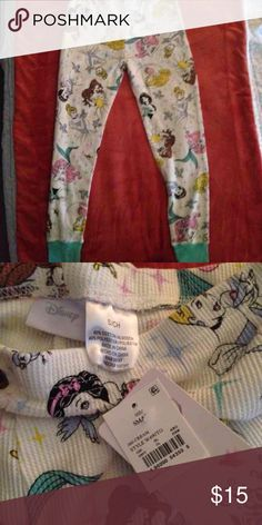 Disney princess thermal pants Disney princess thermal size small but will absolutely fit a medium !! This item comes with a free Sephora mirror compact !! Disney Intimates & Sleepwear Pajamas