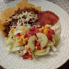 Homemade vegetarian taco dinner. Delicious!
