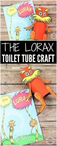 The LORAX toilet tube craft a fun #Drseuss Craft IDEA perfect for preschool and promoting literacy and an interest in children's books.  #Crafts #kidscrafts #papercrafts #toiletube #bookcrafts #lorax #kidsactivities #craftsforkids #craft #kidsbooks