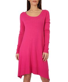 Emma Jones Fuchsia Pullover Sidetail Dress - Plus Too by Emma Jones #zulily #zulilyfinds