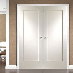 Simpli Double Door Set   Pattern 10 Panelled Door   White Primed