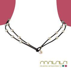 #collar doble de #cuero marrón y #perlas cultivadas. Disponible en tienda online. #necklace #accesorios #moda http://malalam.myshopify.com/collections/collares-2/products/taim4002?variant=96197812