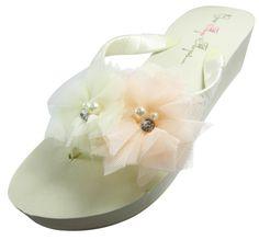 Bridal Flip Flops Ivory Tulle Pearl Rhinestone Flower Wedge Womens Wedding Platform Satin Flip Flops
