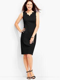 f04f6d5f813 Scalloped Ponte Sheath - Talbots black size 4 petite Scalloped Dress