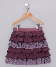 Take a look at this Plum Lace Ruffle Skirt - Girls by Back to School: Girls' Apparel on #zulily today!