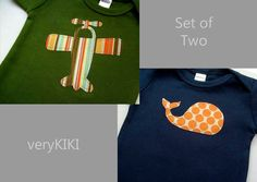 Cute Baby Boy Clothes // Set of Two Bodysuits // Airplane and Whale Bodysuits // Boys Baby Clothing // Baby Boy Outfit
