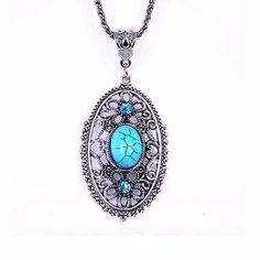 Tibetan Hollow Turquoise Necklace