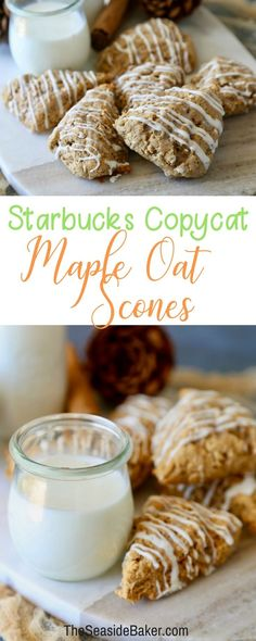Delicious Maple Oat Scones just like the ones you buy at Starbucks! And you'll love the white chocolate drizzle topping them! | #starbuckscopycat #starbucks #scone | See this and other delicious recipes at TheSeasideBaker.com