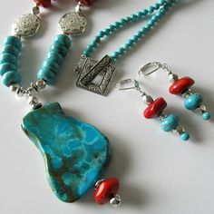 Slab turquoise gemstone pendant necklace, turquoise howlite and red coral, silver necklace, earrings, beaded jewelry, southwestern, Sedona