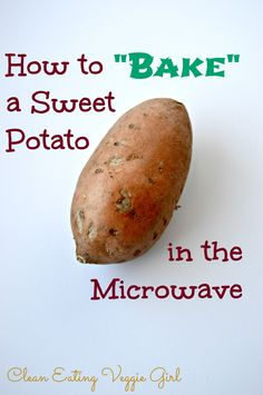 "A tutorial on how to ""bake"" a sweet potato in the microwave in under seven minutes. If you have not already figured it out, I am a big-time sweet potato lover. I love sweet potato fries. I love sweet potato in soups. I love baked stuffed sweet potatoes Healthy Snacks, Healthy Recipes, Healthy Eating, Clean Eating, Healthy Microwave Recipes, Fast Recipes, Plats Weight Watchers, Cooking Sweet Potatoes, Sweet Potato Recipes"
