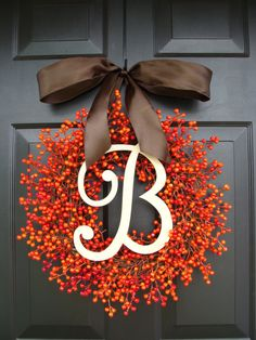Fall Berry Monogram Wreath Fall Wreath Berry by ElegantWreath