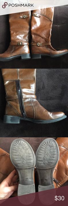 Knee high leather riding boots brown size 9 Brown leather riding boots from DSW Size 9  Leather upper dsw Shoes Over the Knee Boots