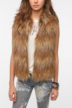Pins and Needles Faux Fur Vest  #UrbanOutfitters