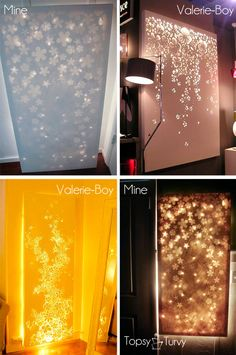I soo want to do this!! Lit up canvas wall decor- use any canvas, apply stickers, decal, etc., and spray paint. Remove Decals; hang white lights behind