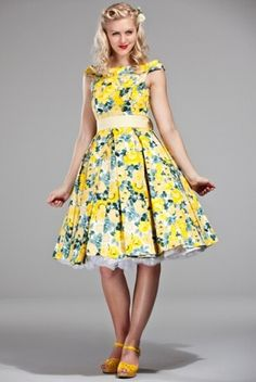 emmydesign - 60's celebration dress in Yellow roses