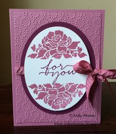 Floral Phrases In Sweet Sugarplum-I stamped the flower images in Sweet Sugarplum and the sentiment in Rich Razzleberry.