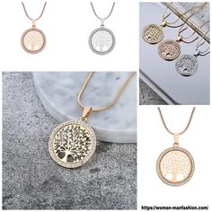 Tree of life Crystal Pendant Necklace Gold Pendant Necklace, Crystal Pendant, Pendant Jewelry, Healthy Women, Make A Gift, Girls Jewelry, Elegant Woman, Tree Of Life, Silver Color
