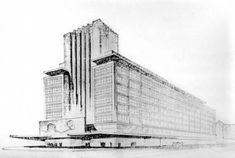 Peter Behrens #architecture #sketch of Alexanderplatz project, Berlin 1933