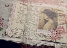 journal/hankies--I have some old, old hankies & tatted edging that could be incorporated in to a project like this. I think it would be a cute altered  scrapbook