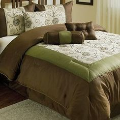 comforter sets chocolate brown | ... -EMBROIDERED-7PC-CAL-KING-COMFORTER-SET-OLIVE-GREEN-CHOCOLATE-BROWN