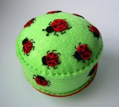 Pincushion Ladybugs Party on green leaves felt pin by Spincushions, $30.00