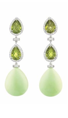 A Pair of Peridot, Magnesite and Diamond Ear Pendants: Each designed as a line of two pear-shape peridot within pavé-set diamond surrounds, interspersed by circular-cut diamond spacer links, suspending a magnesite drop, mounted in 18K white gold, length 2 1/4 inches.  Signed 'MB' for Margherita Burgener, 'Italy', with an original box. Via Philips.