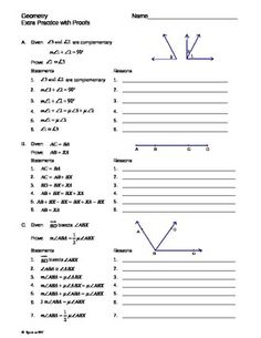 Practice Two Column Proof Worksheet also geometry proofs worksheets in ...