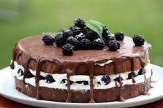 Čokoládovo smotanová torta s černicami, recept | Tortyodmamy.sk Vegan Keto, No Bake Cake, I Foods, Tiramisu, Cheesecake, Deserts, Food Porn, Food And Drink, Yummy Food