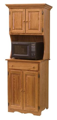 Amish Oak Microwave Stand With Hutch 6320 Dishwasher Cabinet Kitchen Storage