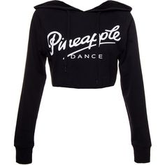 Pineapple Crop Dance Hoodie (Black) ($30) ❤ liked on Polyvore featuring tops, hoodies, crop tops, pineapple hoodie, pineapple top, black top, crop top and sweatshirts hoodies