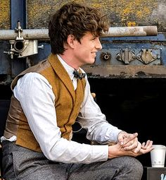 Eddie Redmayne in between takes of Fantastic Beasts: The Crimes of Grindelwald.