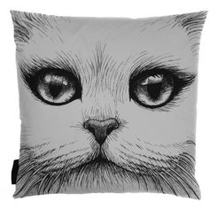 RORY DOBNER Monocle Cat Cotton Pillow - Black/White ($150) ❤ liked on Polyvore featuring home, home decor, throw pillows, accessories, house, my hom, black and white accent pillows, cotton throw pillows, black and white toss pillows and black white home decor