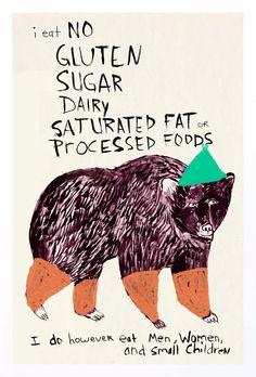 Foodie Poster Kitchen Art Animals Humor Kitchen door retrowhale