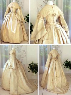 Wedding dress, probably French, ca. 1860. Silk faille moiré with silk passementerie on bodice. Two pieces. Le Paon de Soie