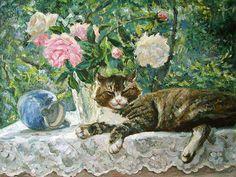 Summer cat painting. Ljudmila Navrodskaya - Siesta