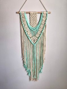 Excited to share this item from my shop: Macrame Wall Hanging Tapestry, Handmade Teal, Sea Blue Boho Decor Mason Jar Flower Arrangements, Mason Jar Flowers, Macrame Wall Hanging Diy, Tapestry Wall Hanging, Wall Hangings, Boho Dekor, Ladybug Party, Creative Decor, Warm Colors
