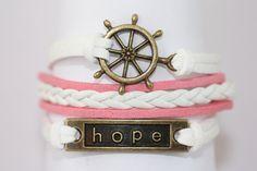 KINDRED~ Hope Bracelet, Ship Wheel Bracelet, Rudder Bracelet, Pink White Bracelet, Awareness Bracelet, Cancer Bracelet, ilovecheesygrits by ilovecheesygrits on Etsy