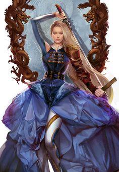 Year of the dragon #dragon #woman #dress #sword