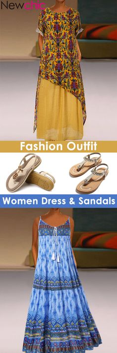 Fashion Summer Dress & Sandals For You! Classy Dress, Dress Sandals, Style Fashion, Womens Fashion, Kurti, Dress Skirt, Summer Dresses, My Style, Fountain