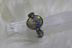 Raw Opal, Rough Opal, Handmade Sterling Silver, Sterling Silver Rings, Black Opal Ring, Australian Black Opal, Leaf Ring, Opal Rings, Healing Stones