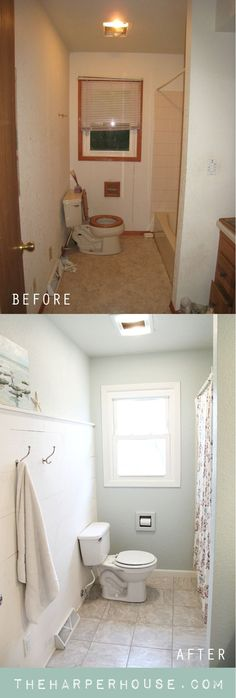 amazing transformation of this ugly bath – check out before & after pics of… wow! amazing transformation of this ugly bath – check out before & after pics of the whole house Fixer Upper, Home Renovation, Home Remodeling, Before After Home, Ideas Prácticas, Reno Ideas, Bathroom Inspiration, Bathroom Ideas, Home Projects