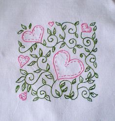 Hearts vine stitchery | This pattern I took from a Card prin… | Flickr