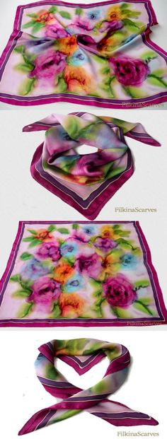 Hand Painted Silk Scarf Roses Floral Pink Purple Silk Painting